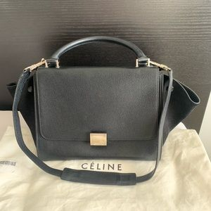 Celine small Trapeze black leather x suede handbag